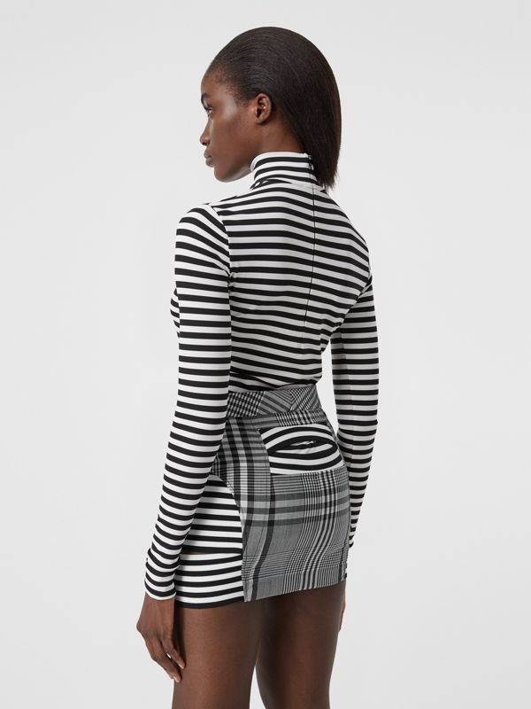 Stripe and Check Technical Wool Mini Skirt in Black - Women | Burberry - cell image 2