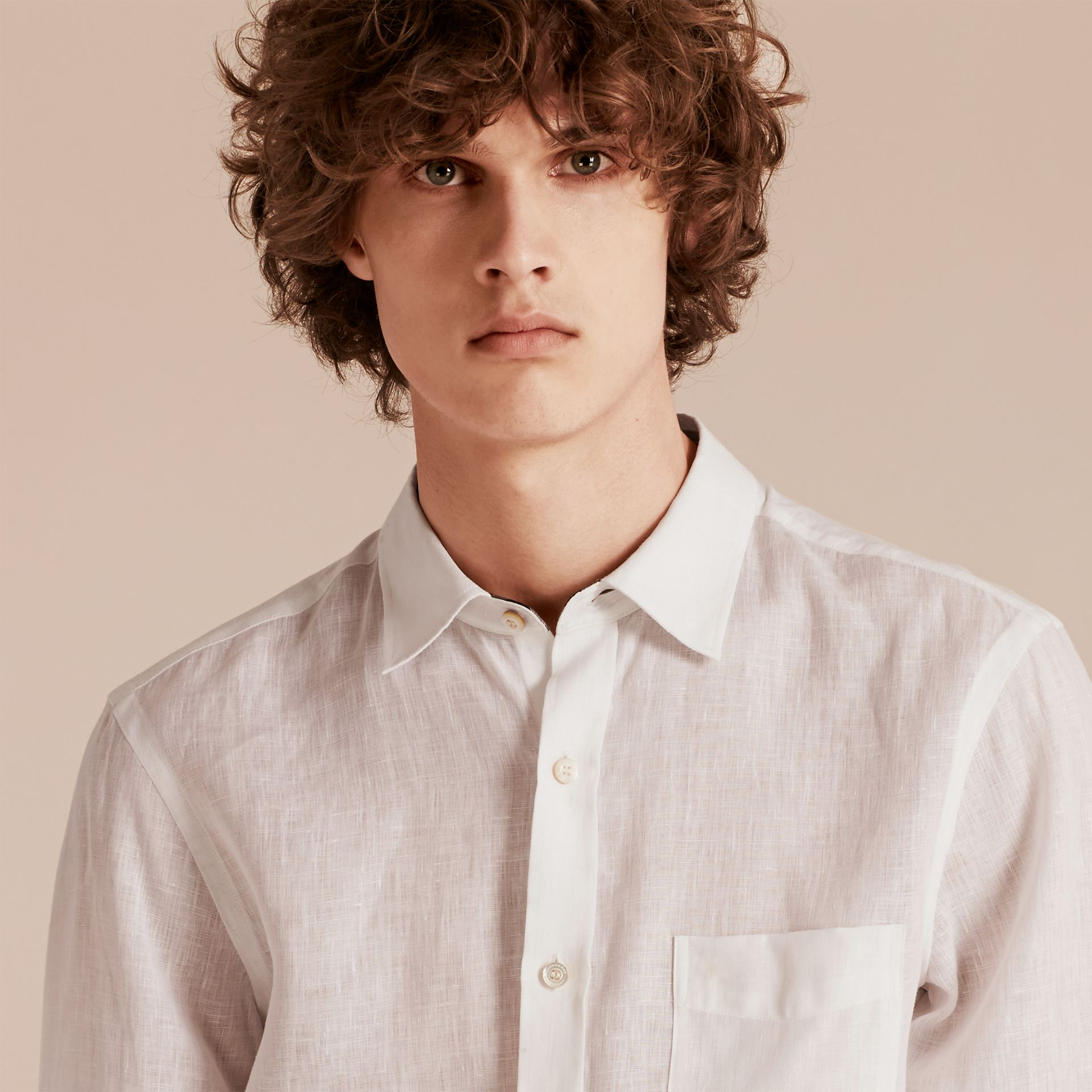 Check Detail Linen Shirt in White - Men | Burberry Singapore - gallery image 5