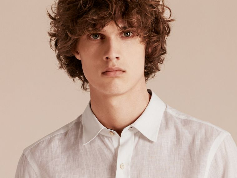 Check Detail Linen Shirt in White - Men | Burberry - cell image 4