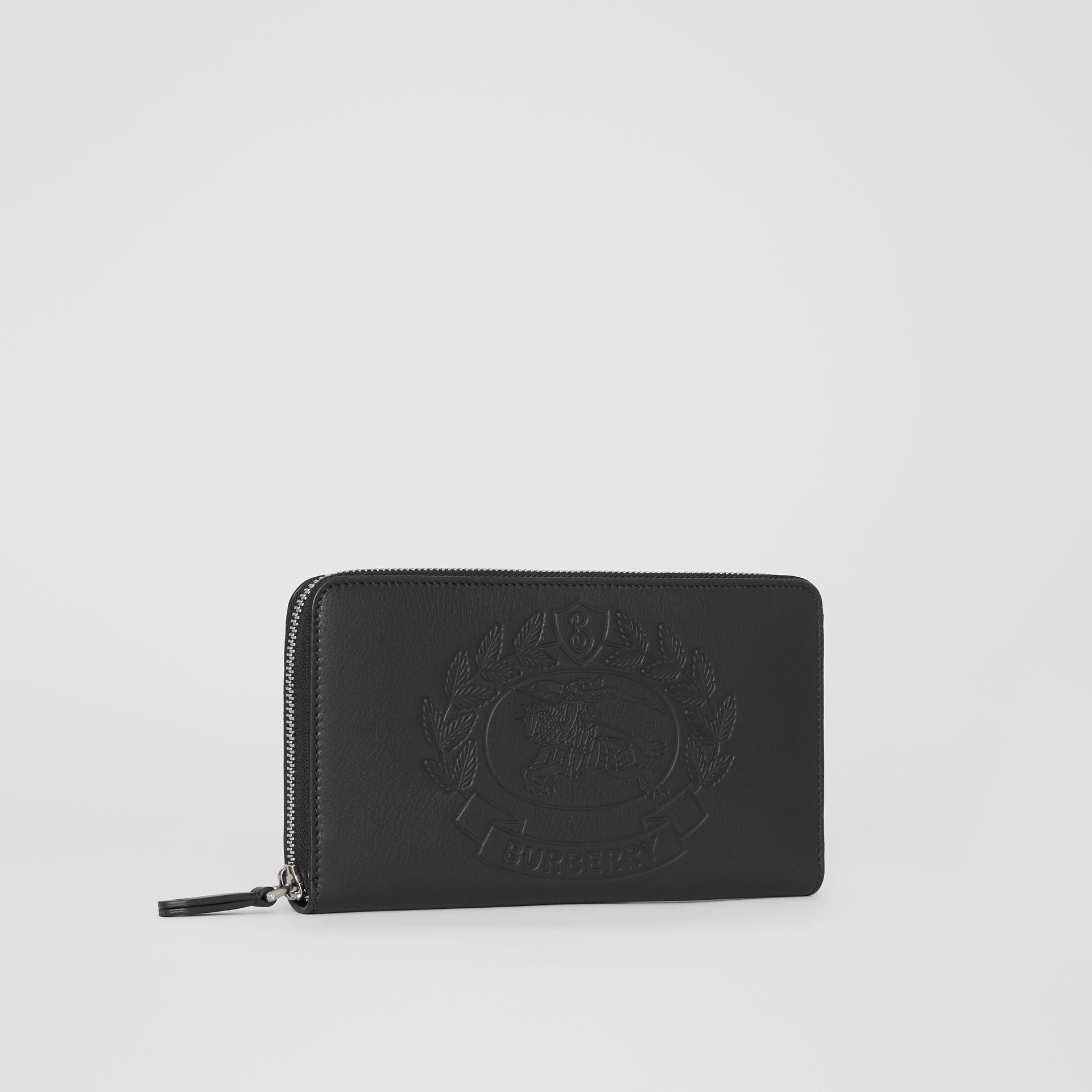 Embossed Crest Leather Ziparound Wallet in Black - Men | Burberry - gallery image 4