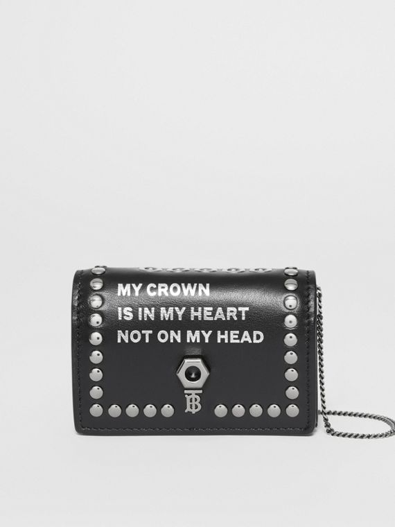 Embellished Leather Card Case with Detachable Strap in Black