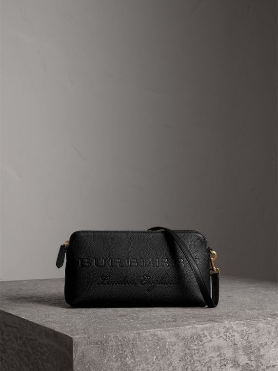 Embossed Leather Clutch Bag in Black