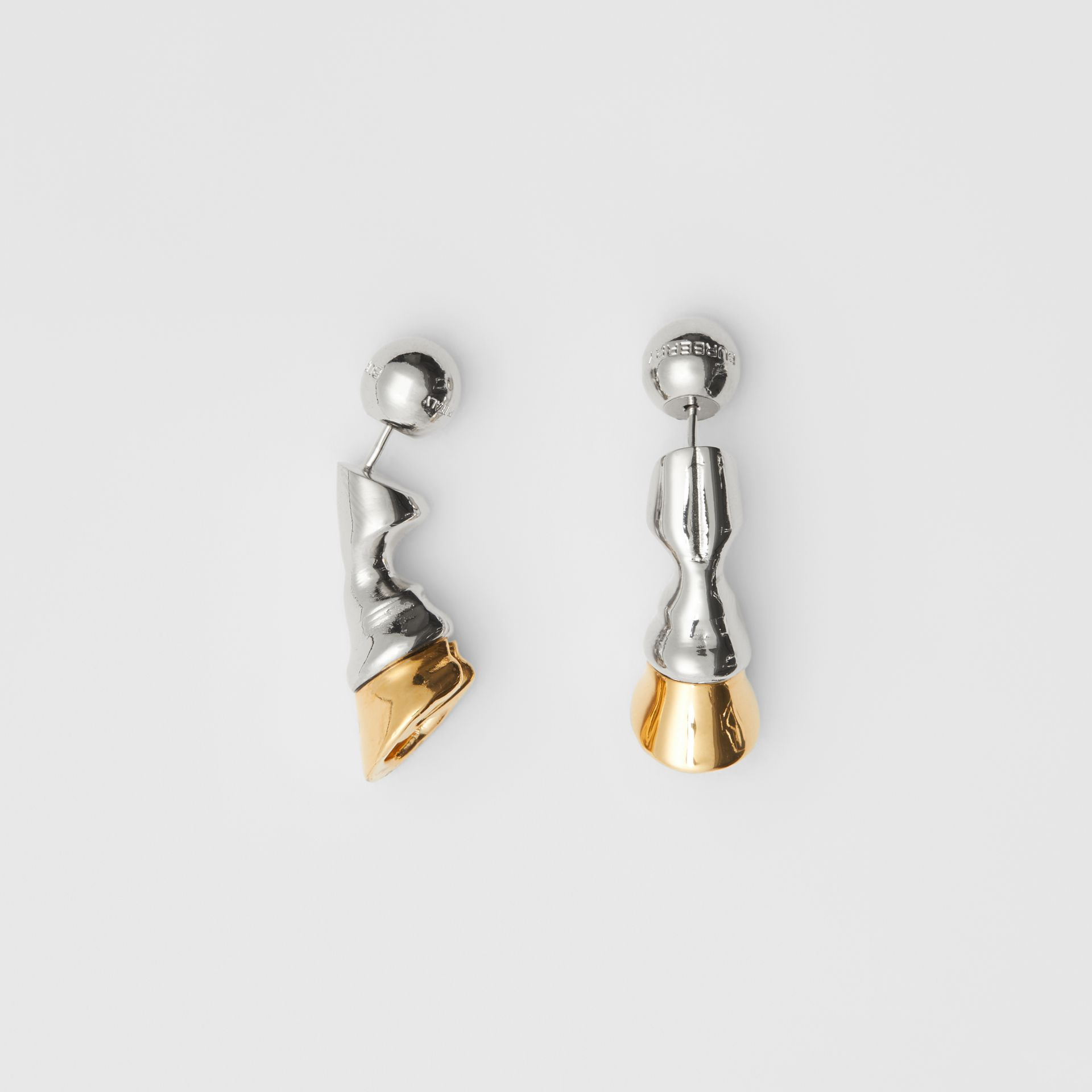 Gold and Palladium-plated Hoof Earrings in Palladium/light - Women | Burberry - gallery image 3