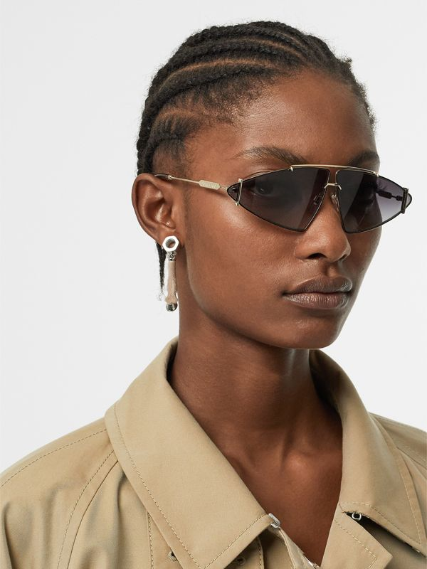 Calf Hair and Palladium-Plated Hoof Drop Earrings in Palladium/honey - Women | Burberry United Kingdom - cell image 2