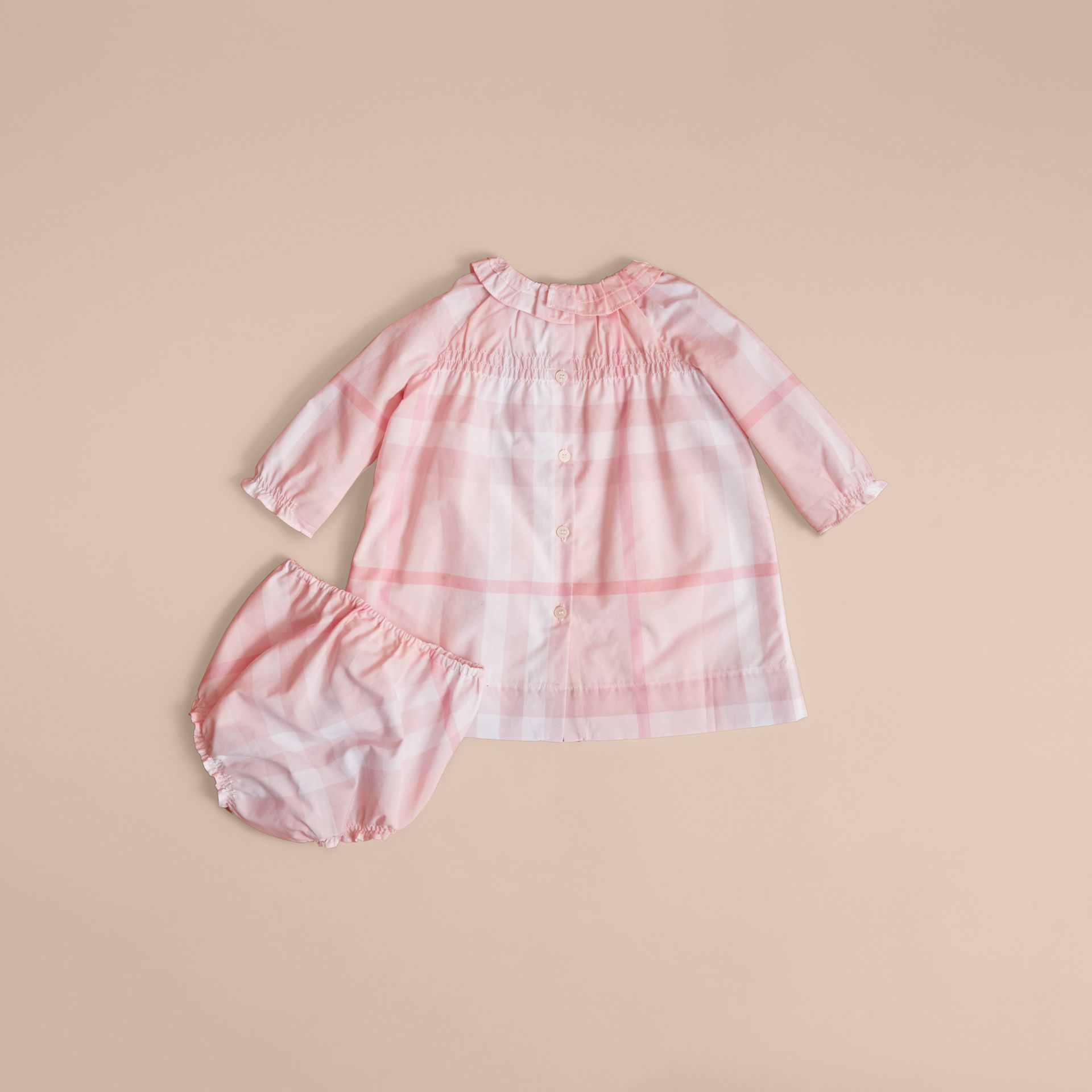 Ruffle Detail Check Cotton Dress and Bloomers in Ice Pink | Burberry United Kingdom - gallery image 4