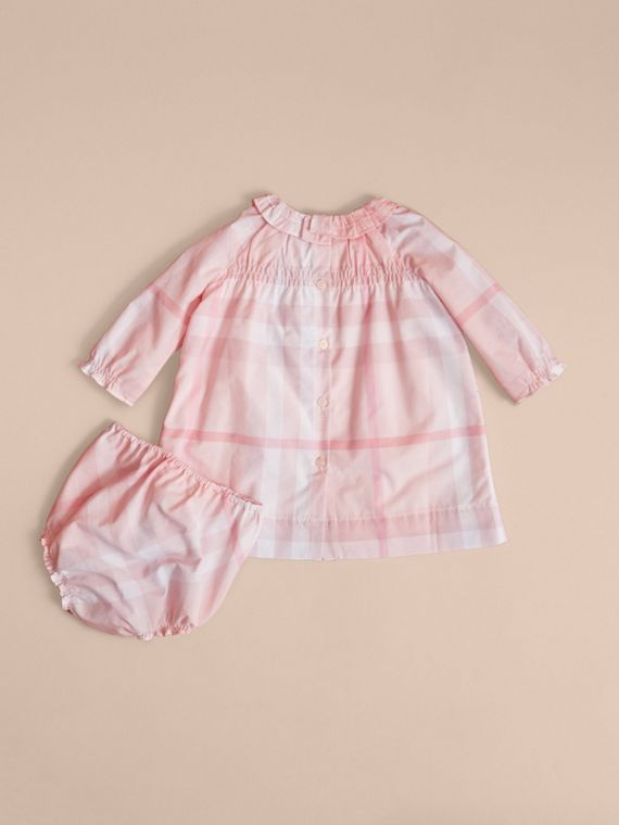 Ruffle Detail Check Cotton Dress and Bloomers in Ice Pink | Burberry - cell image 3