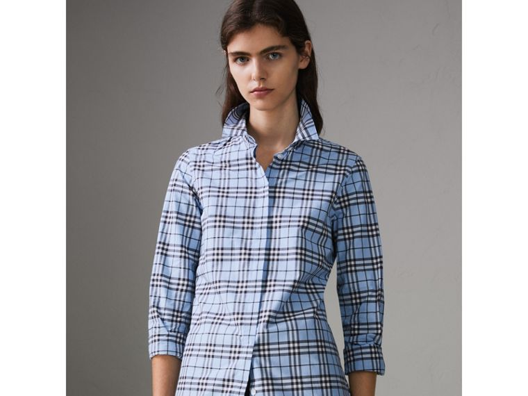 Check Cotton Shirt in Sky Blue - Women | Burberry United States - cell image 4