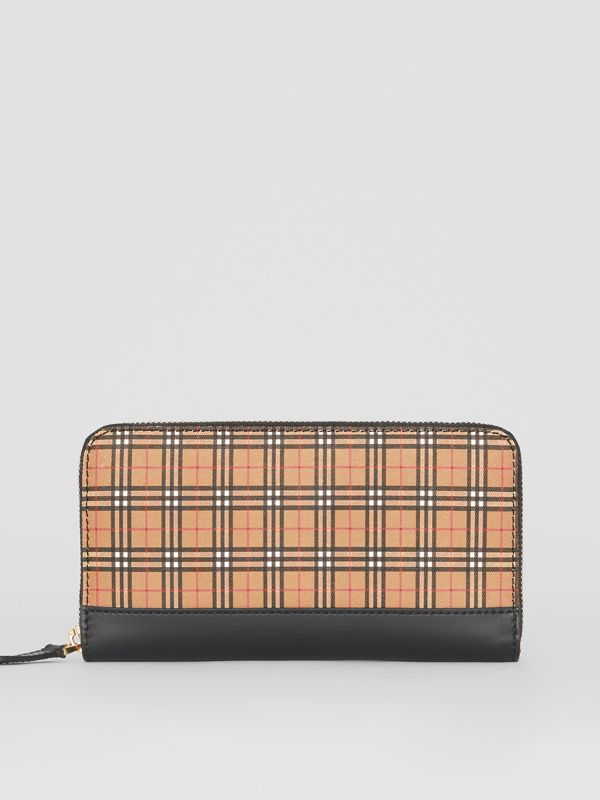 Small Scale Check and Leather Ziparound Wallet in Antique Yellow - Women | Burberry - cell image 2