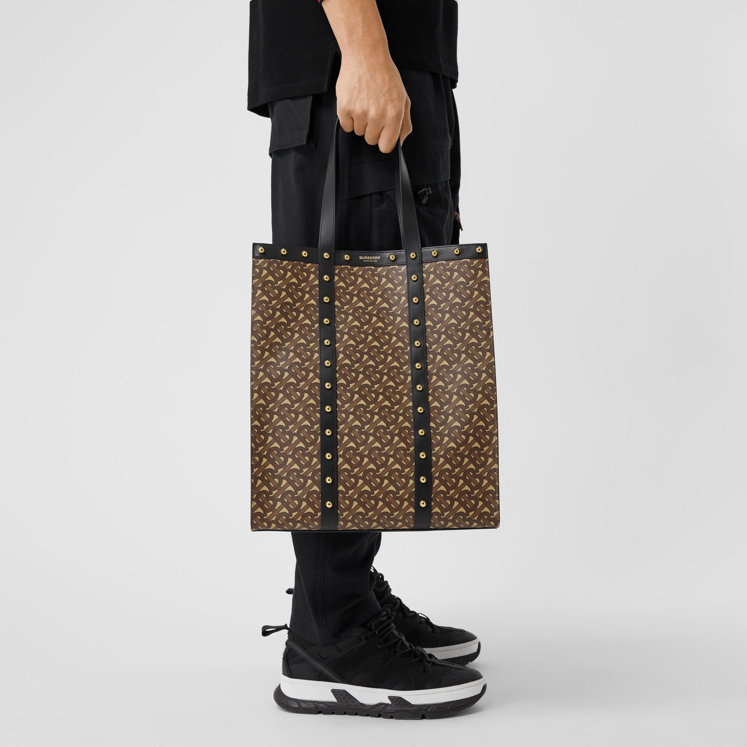 Monogram Print E-canvas Portrait Tote Bag in Black | Burberry - 4