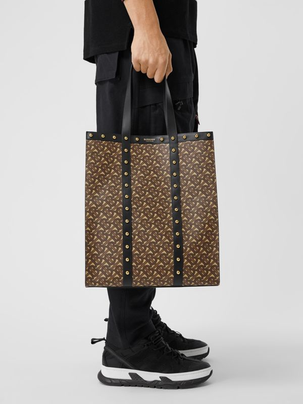 Monogram Print E-canvas Portrait Tote Bag in Black | Burberry Hong Kong S.A.R - cell image 3