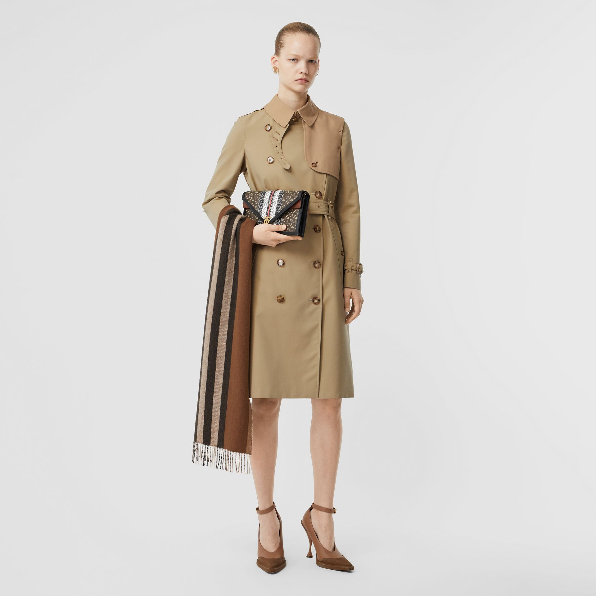 Two-tone Cotton Gabardine Trench Coat in Honey - Women | Burberry Singapore - gallery image 0