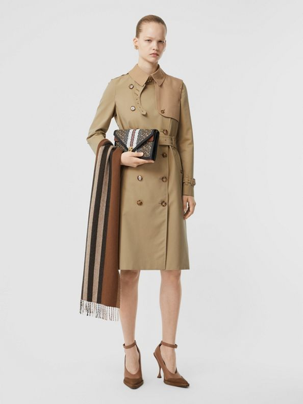 Two-tone Cotton Gabardine Trench Coat in Honey