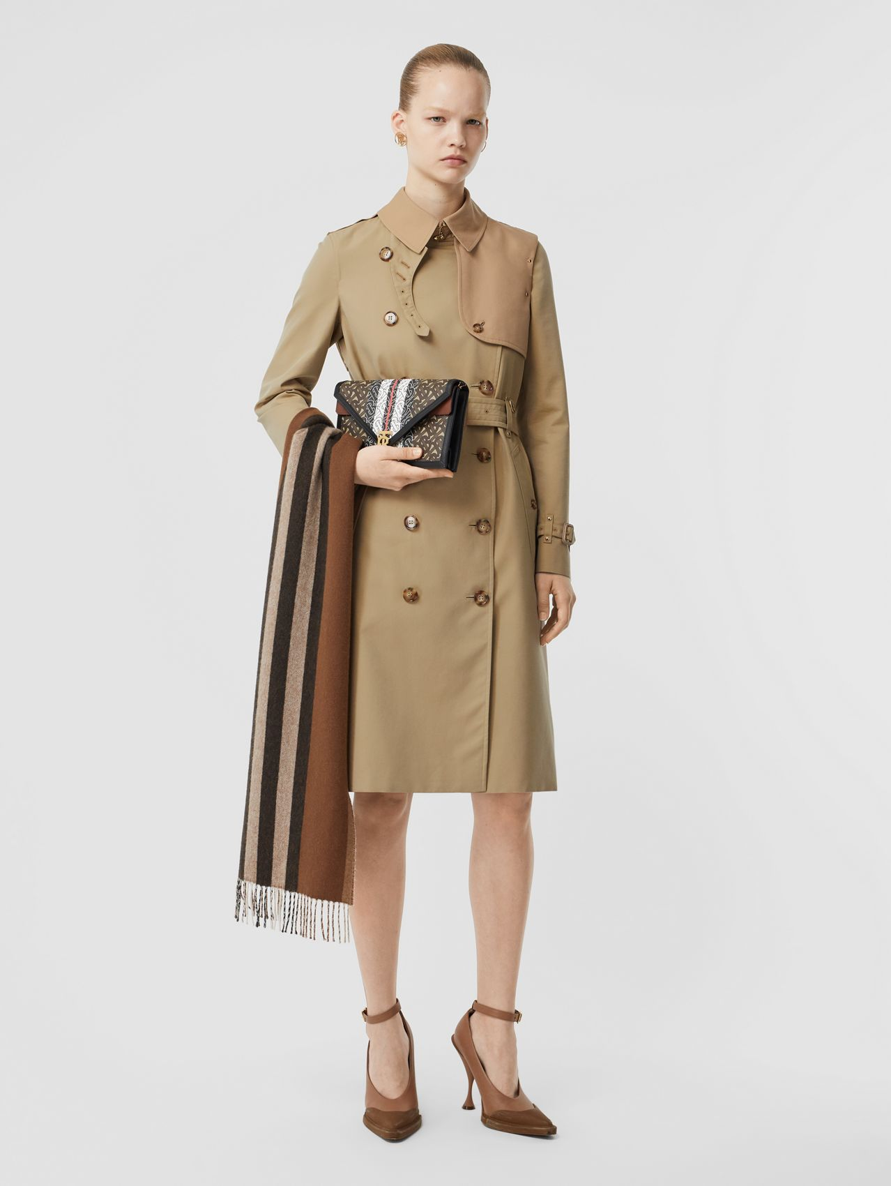 Two-tone Cotton Gabardine Trench Coat (Honey)