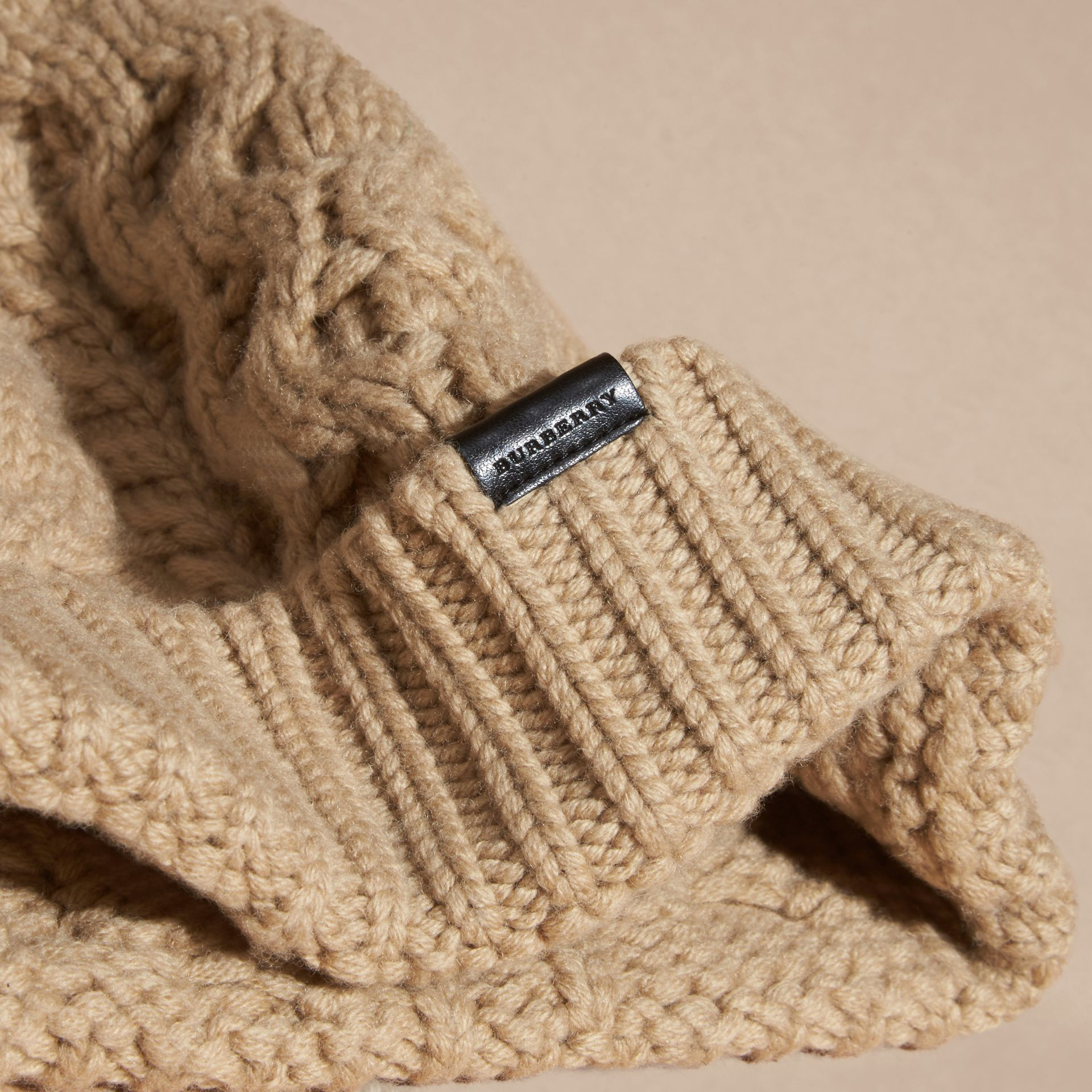 Camel Aran Knit Wool Cashmere Beanie Camel - gallery image 3