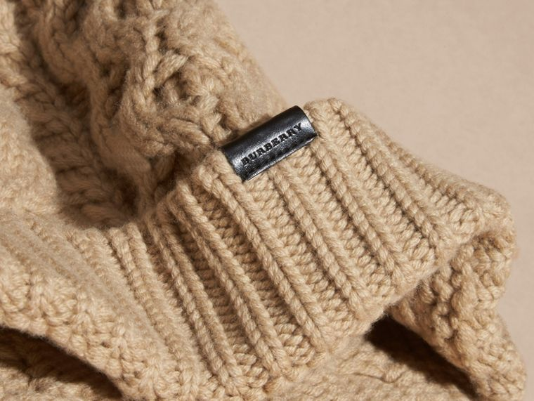 Aran Knit Wool Cashmere Beanie in Camel - cell image 2