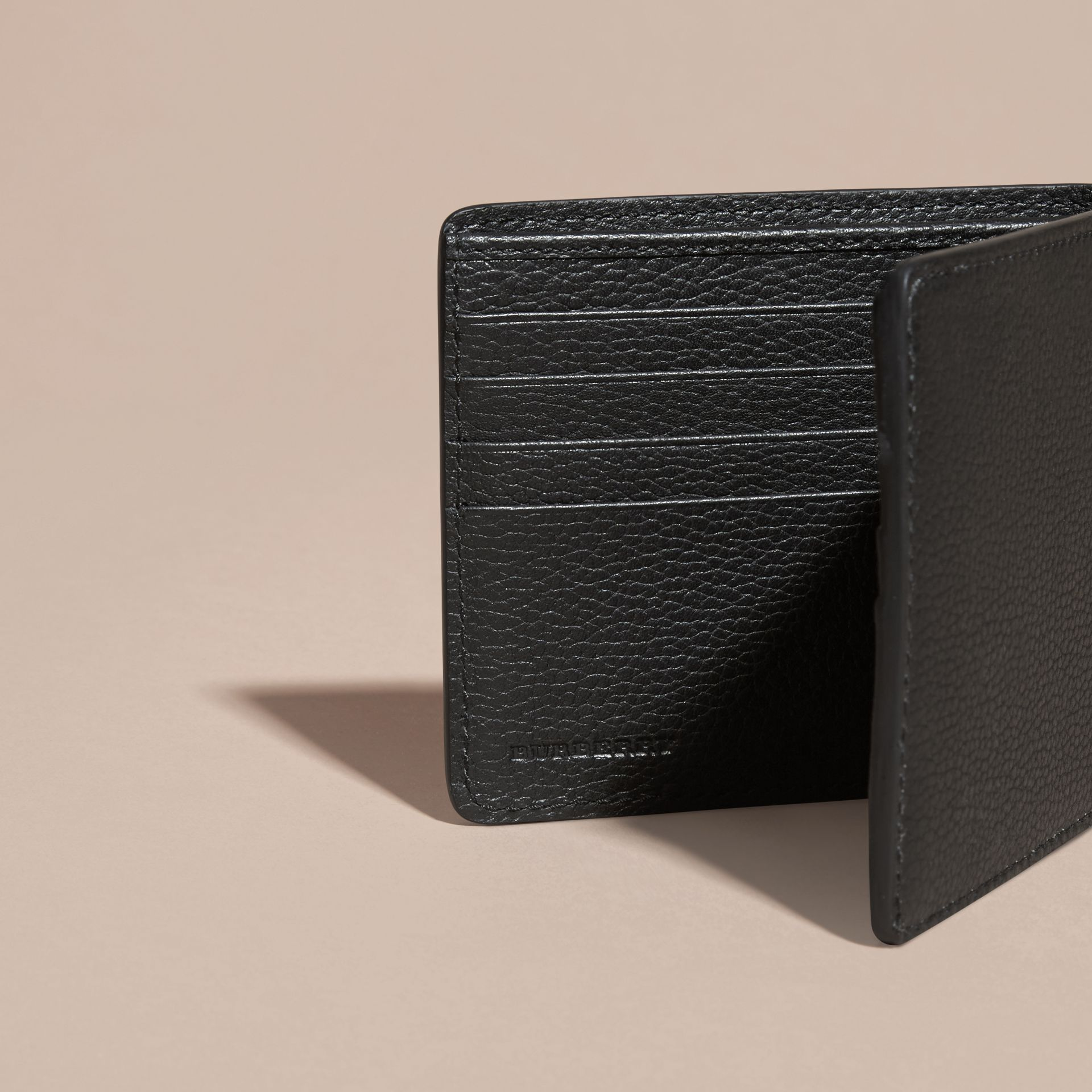 Black Leather Folding Wallet Black - gallery image 5