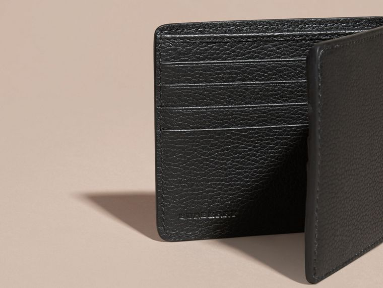 Black Leather Folding Wallet Black - cell image 4