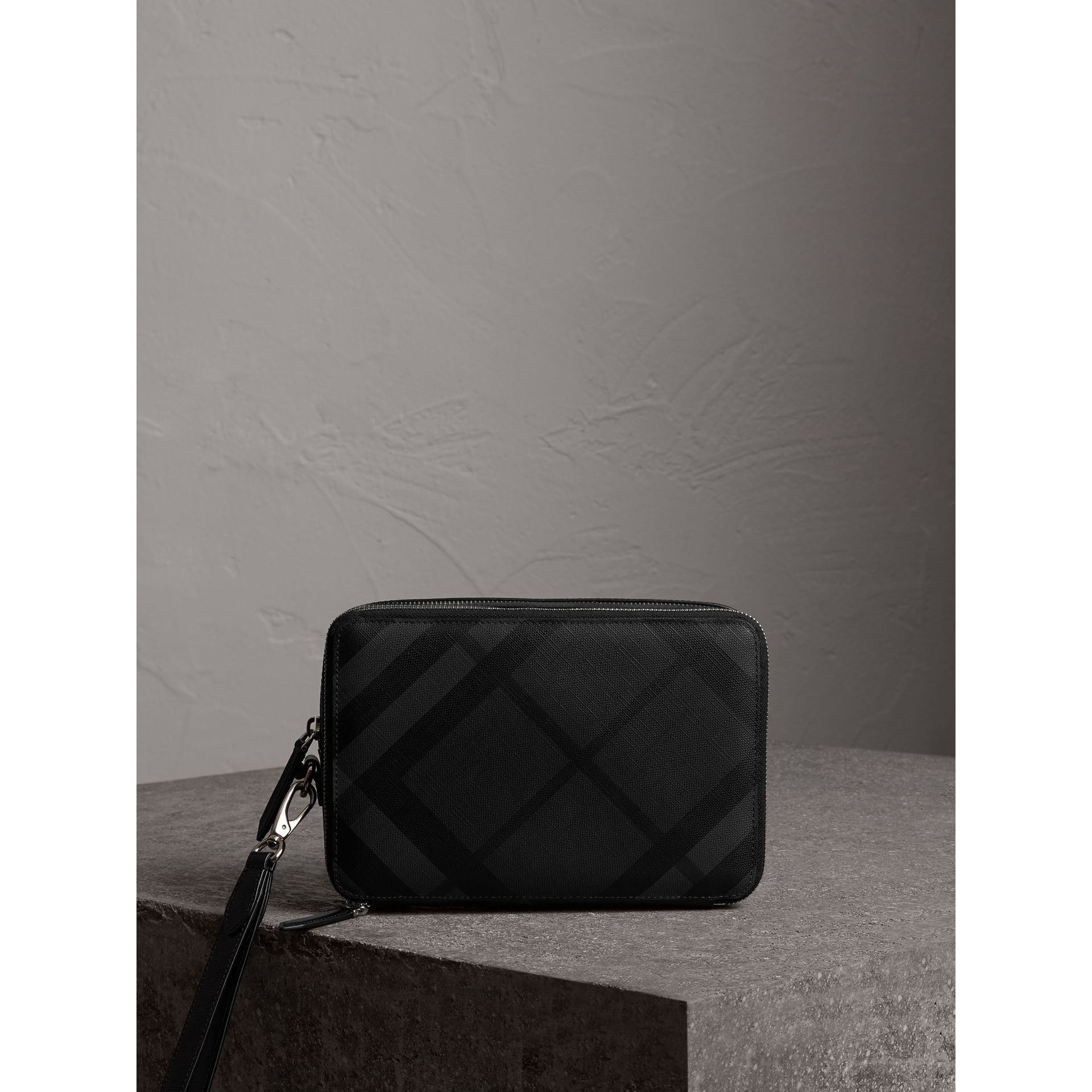 Leather-trimmed London Check Pouch in Charcoal/black - Men | Burberry - gallery image 0
