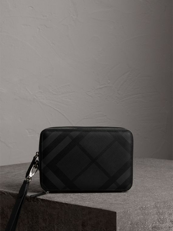 Leather-trimmed London Check Pouch in Charcoal/black