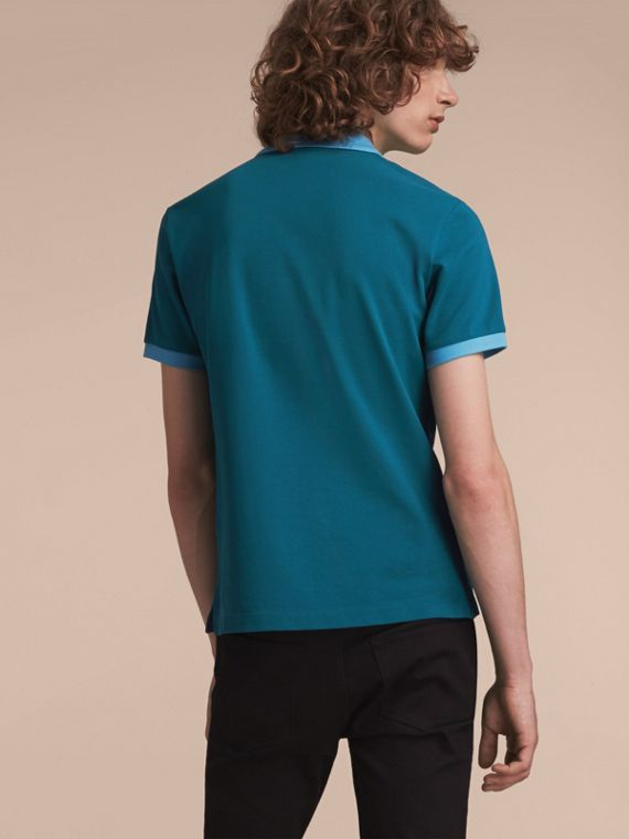 Two-tone Check Placket Cotton Piqué Polo Shirt in Mineral Blue - cell image 2
