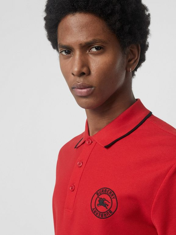 Embroidered Logo Cotton Piqué Polo Shirt in Military Red - Men | Burberry - cell image 1