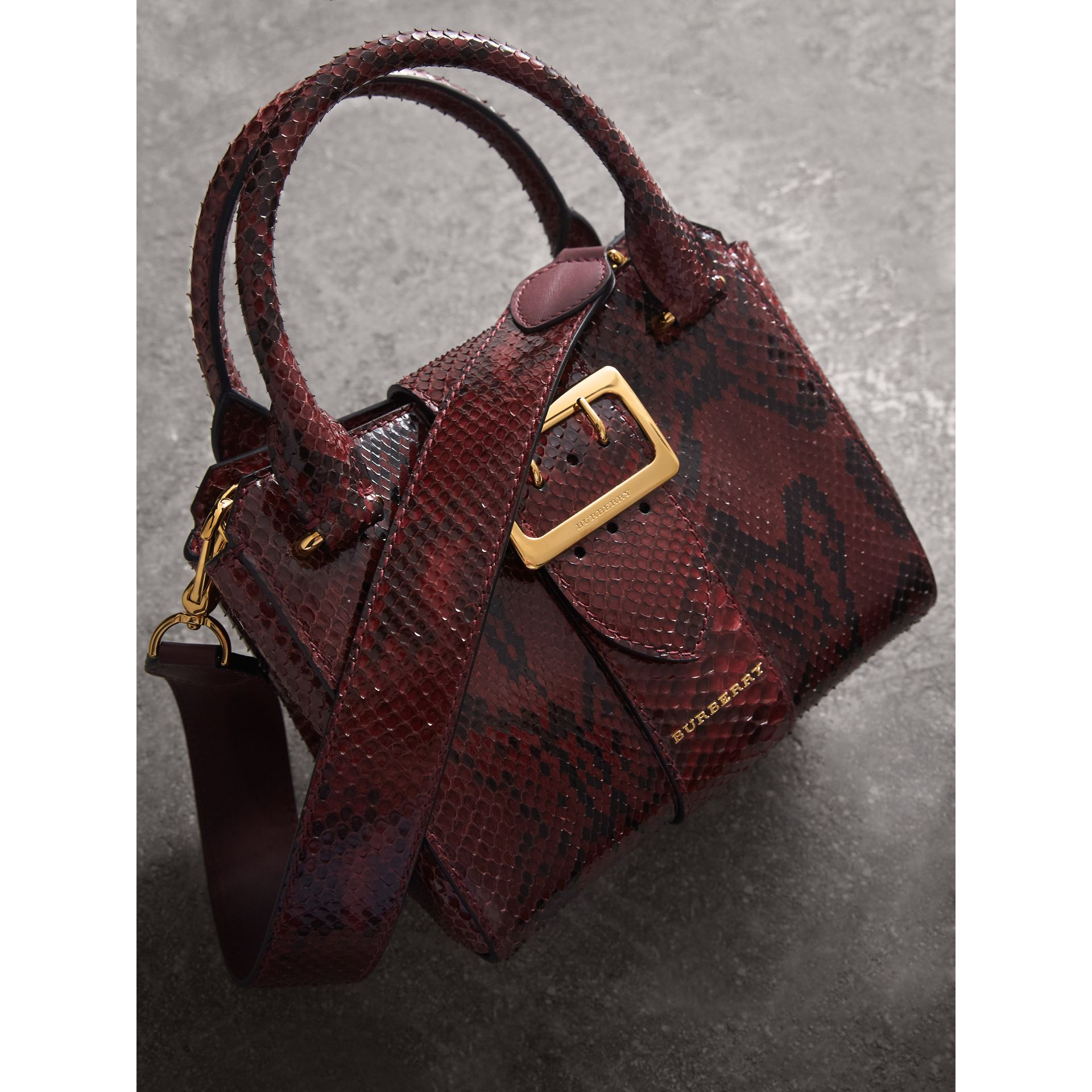 The Small Buckle Tote in Python in Burgundy Red - Women | Burberry - gallery image 7