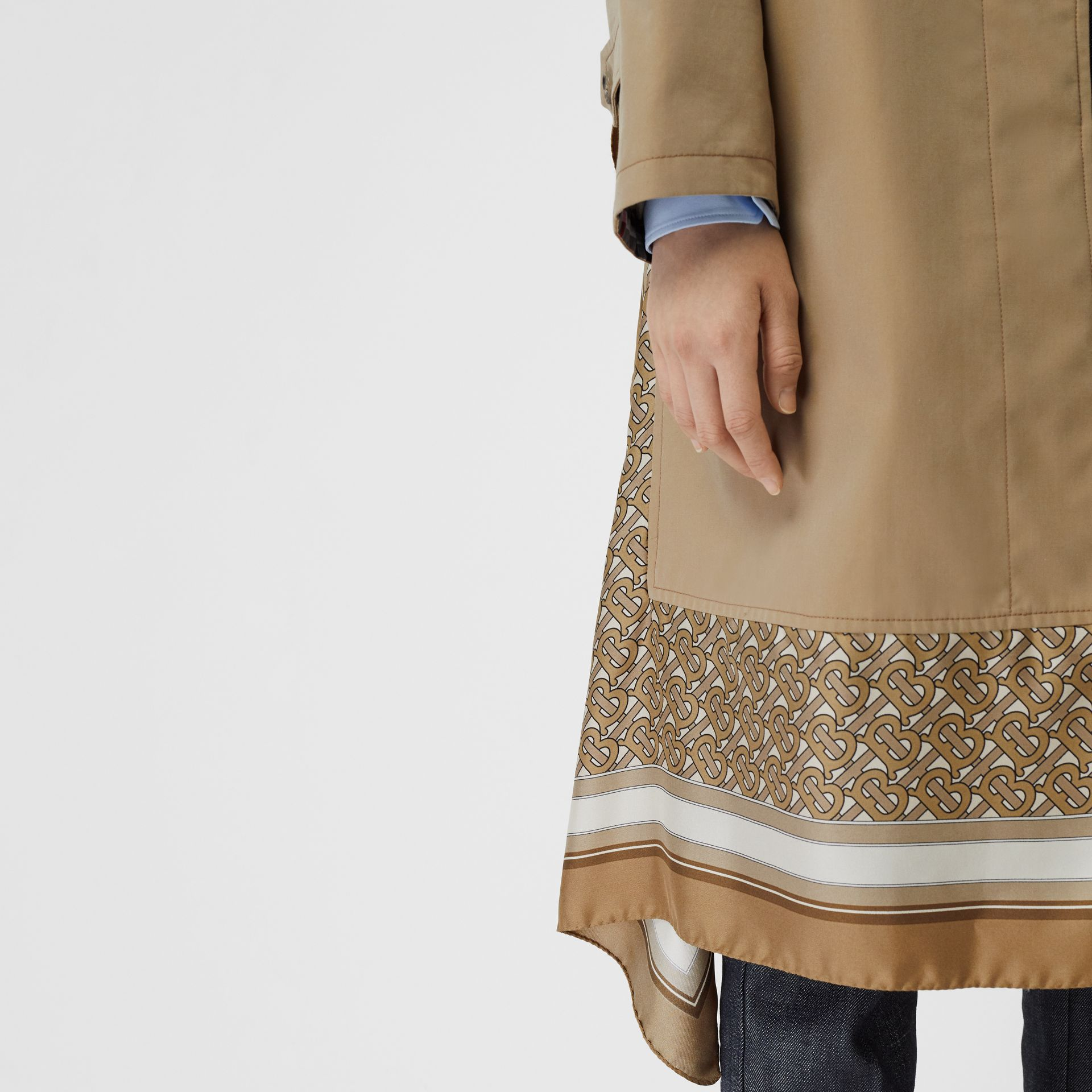 Monogram Print Silk Panel Cotton Car Coat in Pale Honey - Women | Burberry - gallery image 4