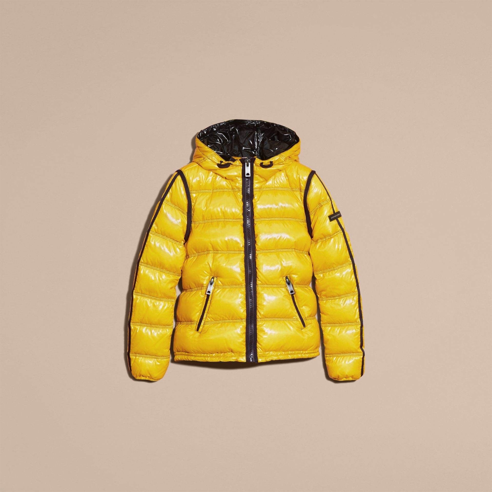Cornflower yellow Glossy Hooded Puffer Jacket with Sporty Detailing - gallery image 4