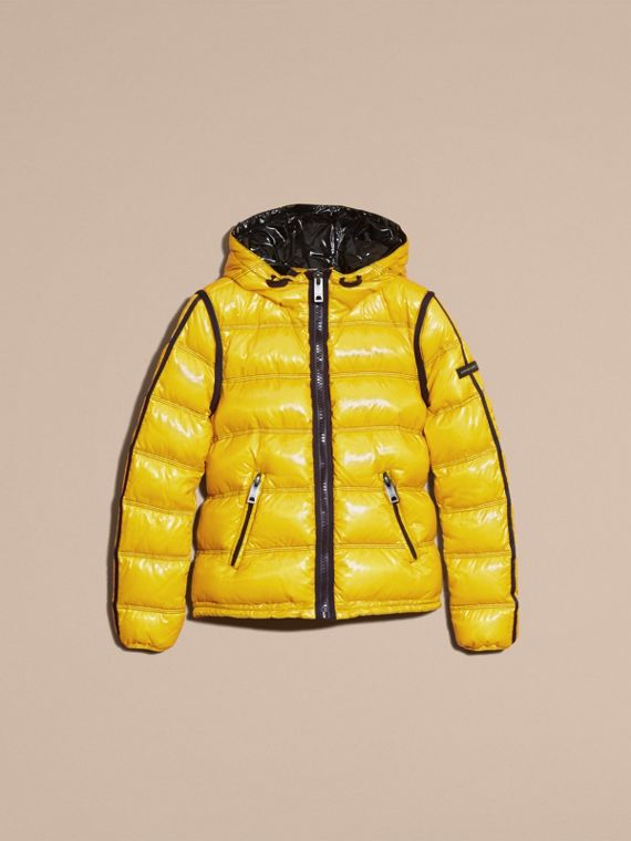 Cornflower yellow Glossy Hooded Puffer Jacket with Sporty Detailing - cell image 3