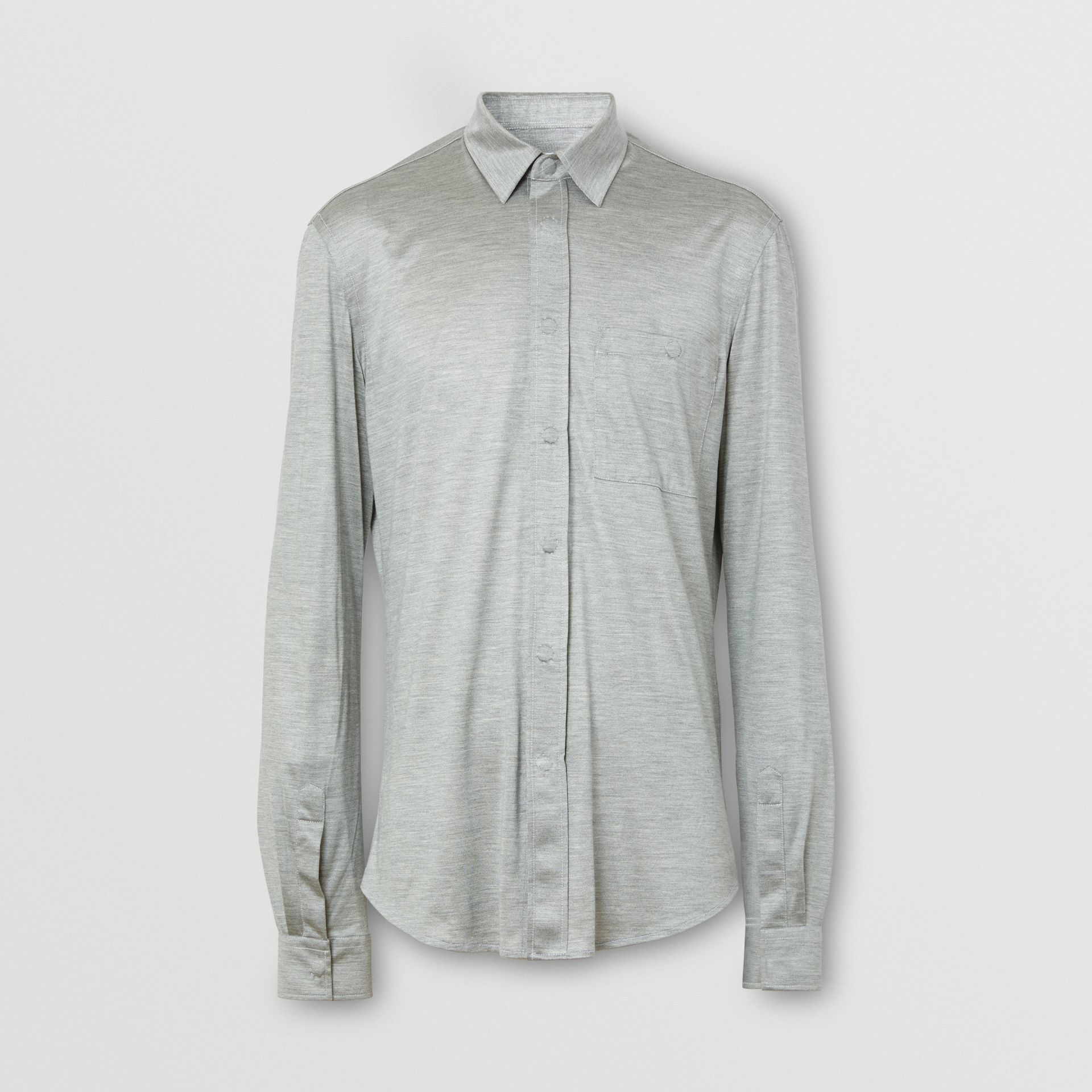 Classic Fit Silk Jersey Shirt in Light Pebble Grey | Burberry - gallery image 3
