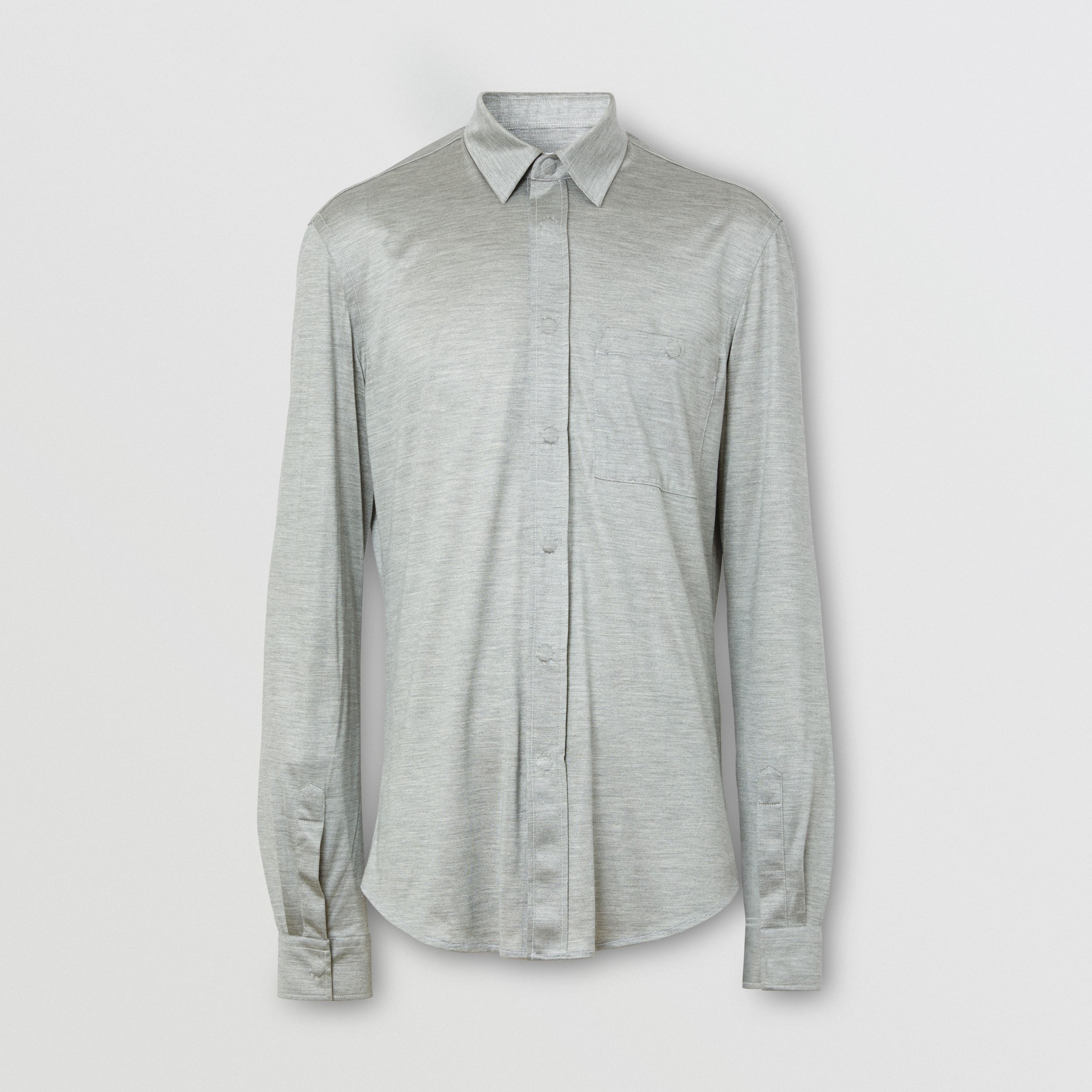 Classic Fit Silk Jersey Shirt in Light Pebble Grey - Men | Burberry - 4
