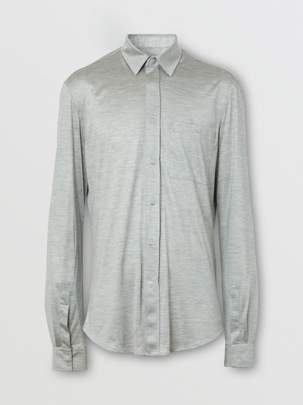 Classic Fit Silk Jersey Shirt in Light Pebble Grey | Burberry United States - cell image 3