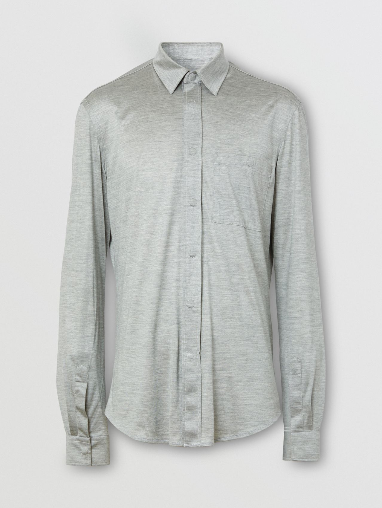 Classic Fit Silk Jersey Shirt (Light Pebble Grey)