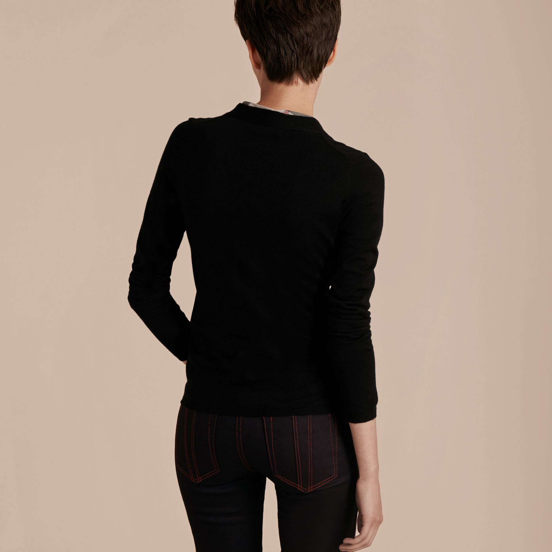 Check Placket Wool Cardigan in Black - Women | Burberry - gallery image 3