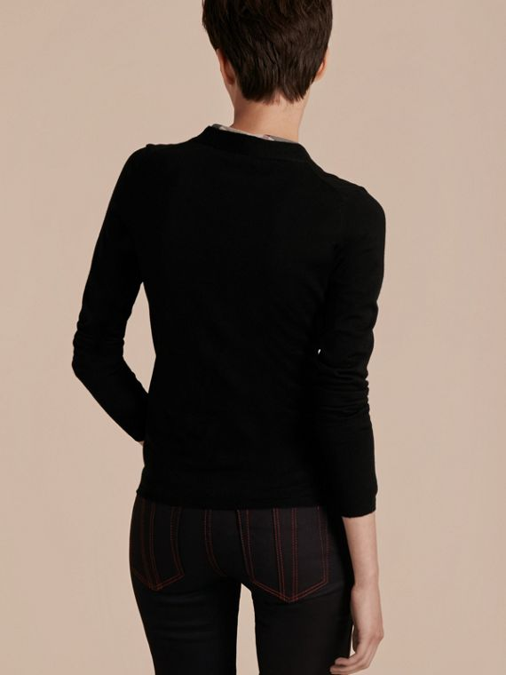Check Placket Wool Cardigan in Black - Women | Burberry - cell image 2