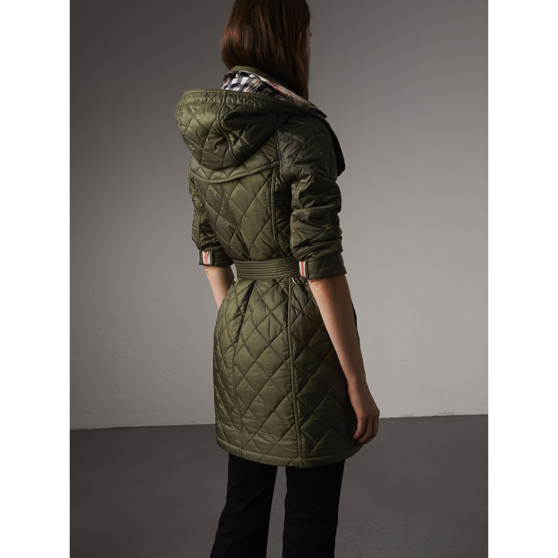 Detachable Hood Quilted Showerproof Parka in Military Khaki - Women | Burberry - gallery image 3