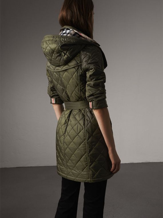 Detachable Hood Quilted Showerproof Parka in Military Khaki - Women | Burberry - cell image 2