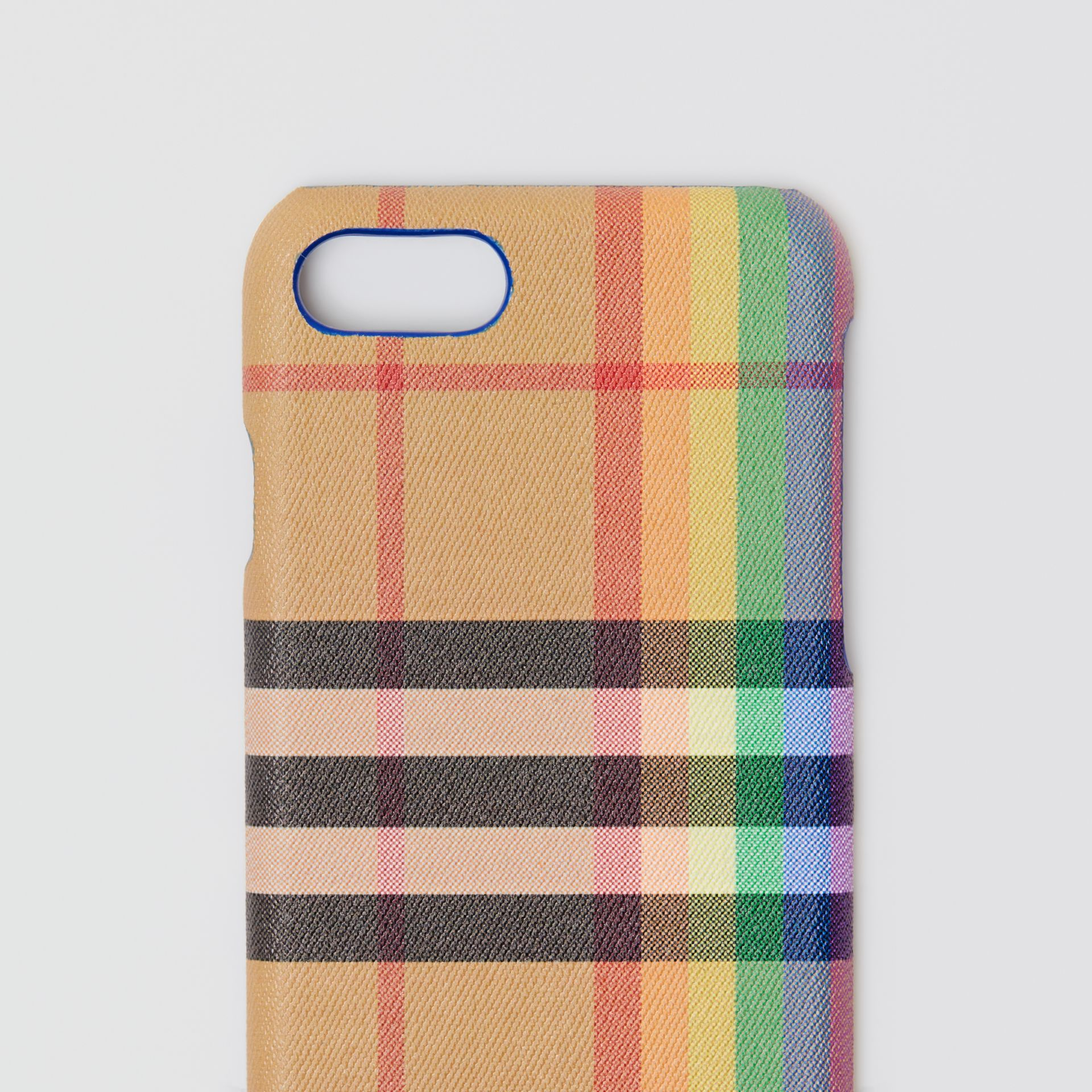 Rainbow Vintage Check and Leather iPhone 8 Case in Multicolour/antique Yellow | Burberry - gallery image 1