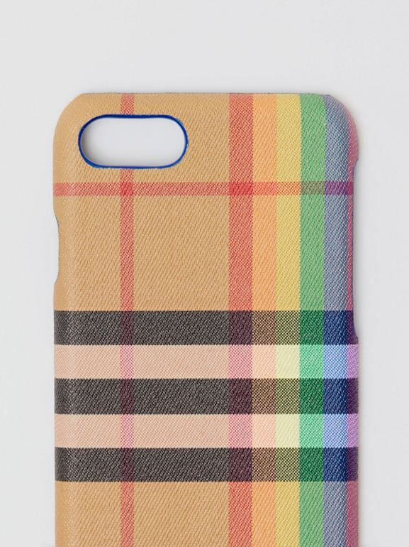 Rainbow Vintage Check and Leather iPhone 8 Case in Multicolour/antique Yellow | Burberry - cell image 1