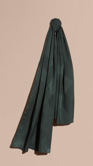 Check Jacquard Silk Scarf