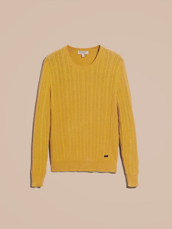 Citrus yellow Aran Knit Cashmere Sweater Citrus Yellow - cell image 3
