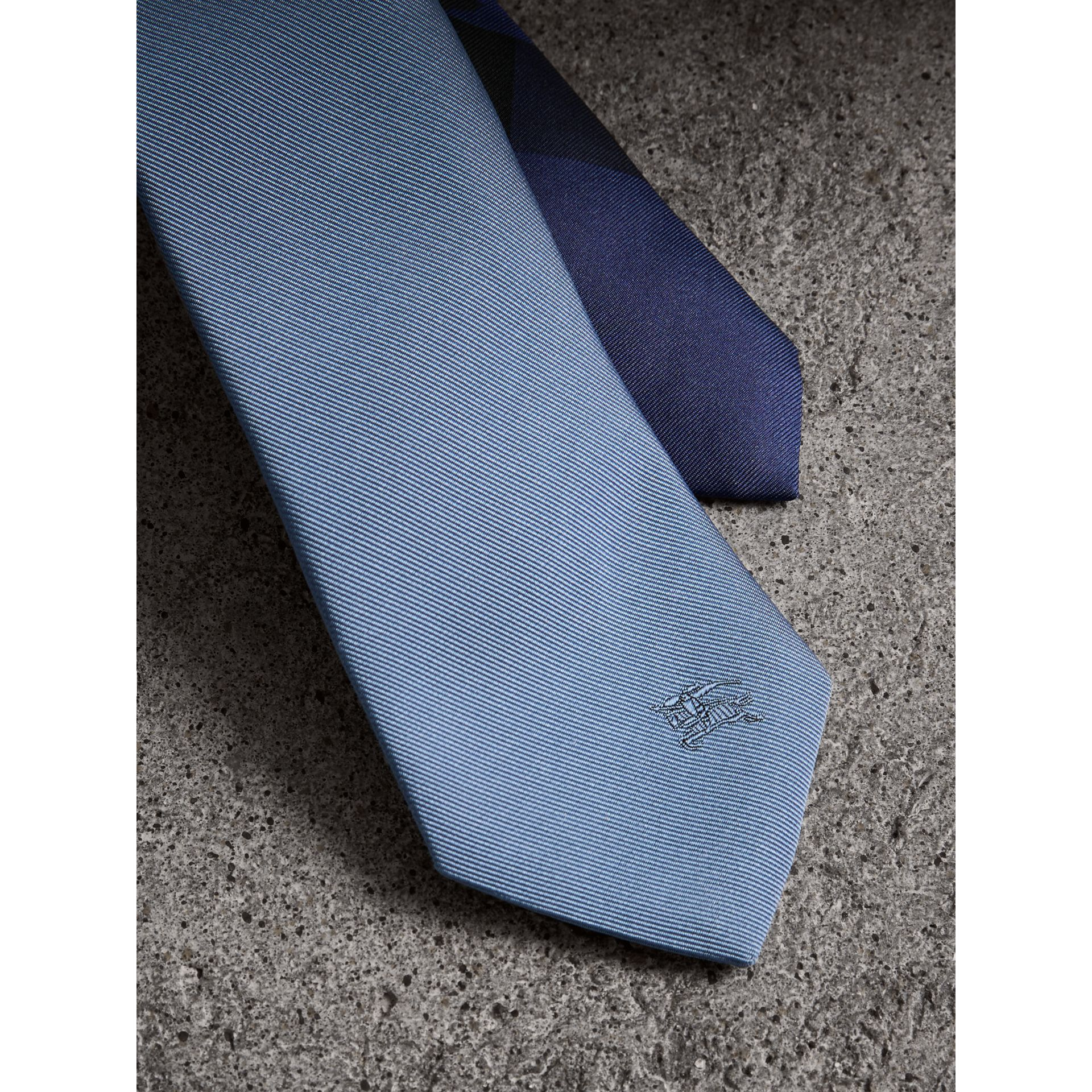 Slim Cut Check Silk Twill Tie in Chalk Blue - Men | Burberry United Kingdom - gallery image 1
