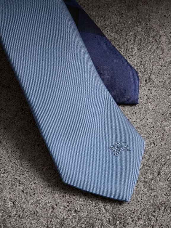 Slim Cut Check Silk Twill Tie in Chalk Blue - Men | Burberry - cell image 1