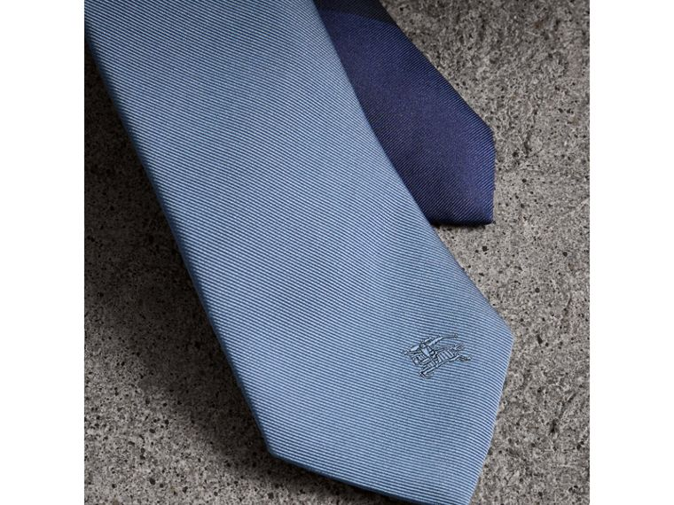 Slim Cut Check Silk Twill Tie in Chalk Blue - Men | Burberry United Kingdom - cell image 1