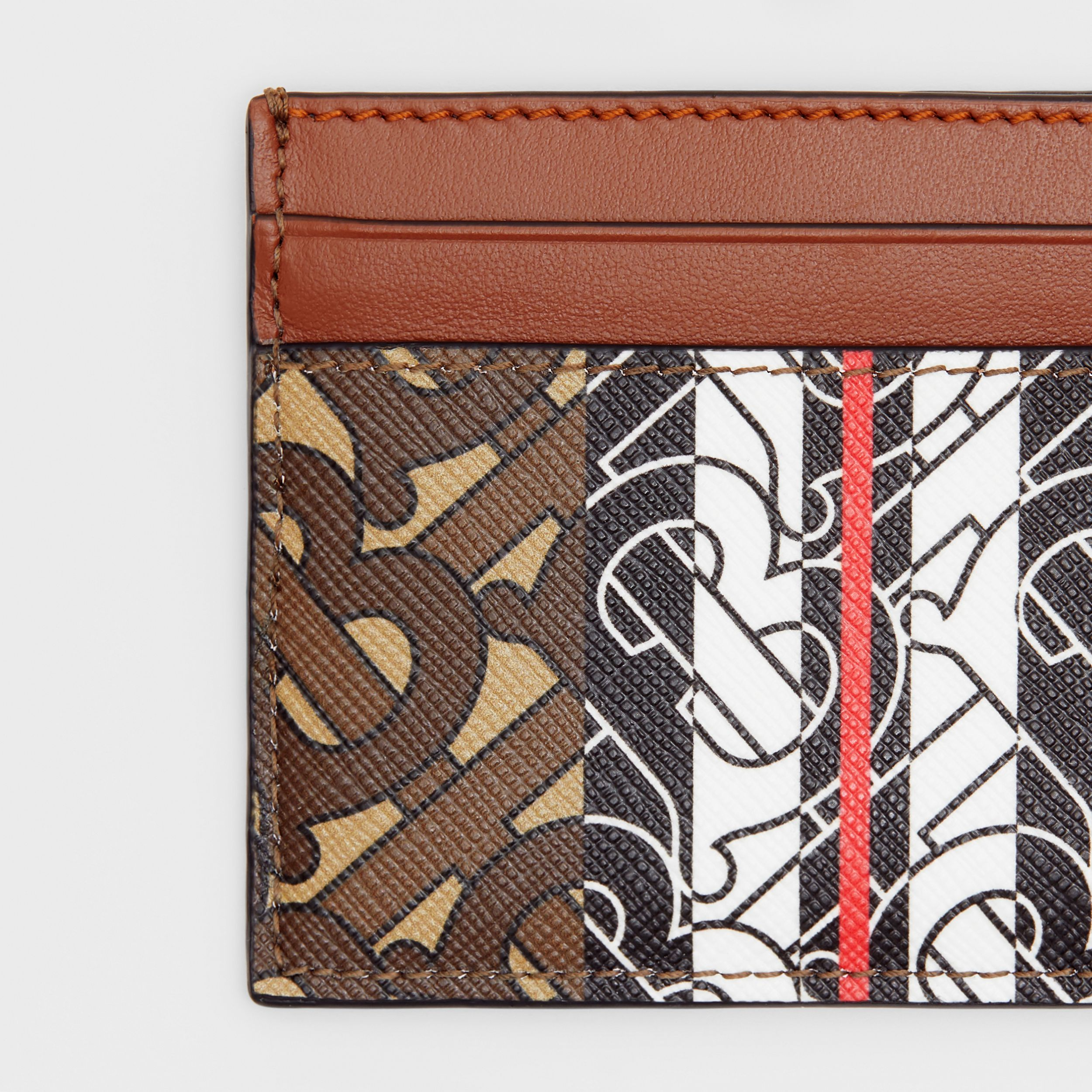 Monogram Stripe E-canvas Card Case in Bridle Brown | Burberry Singapore - 2