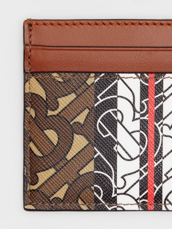 Monogram Stripe E-canvas Card Case in Bridle Brown - Women | Burberry - cell image 1