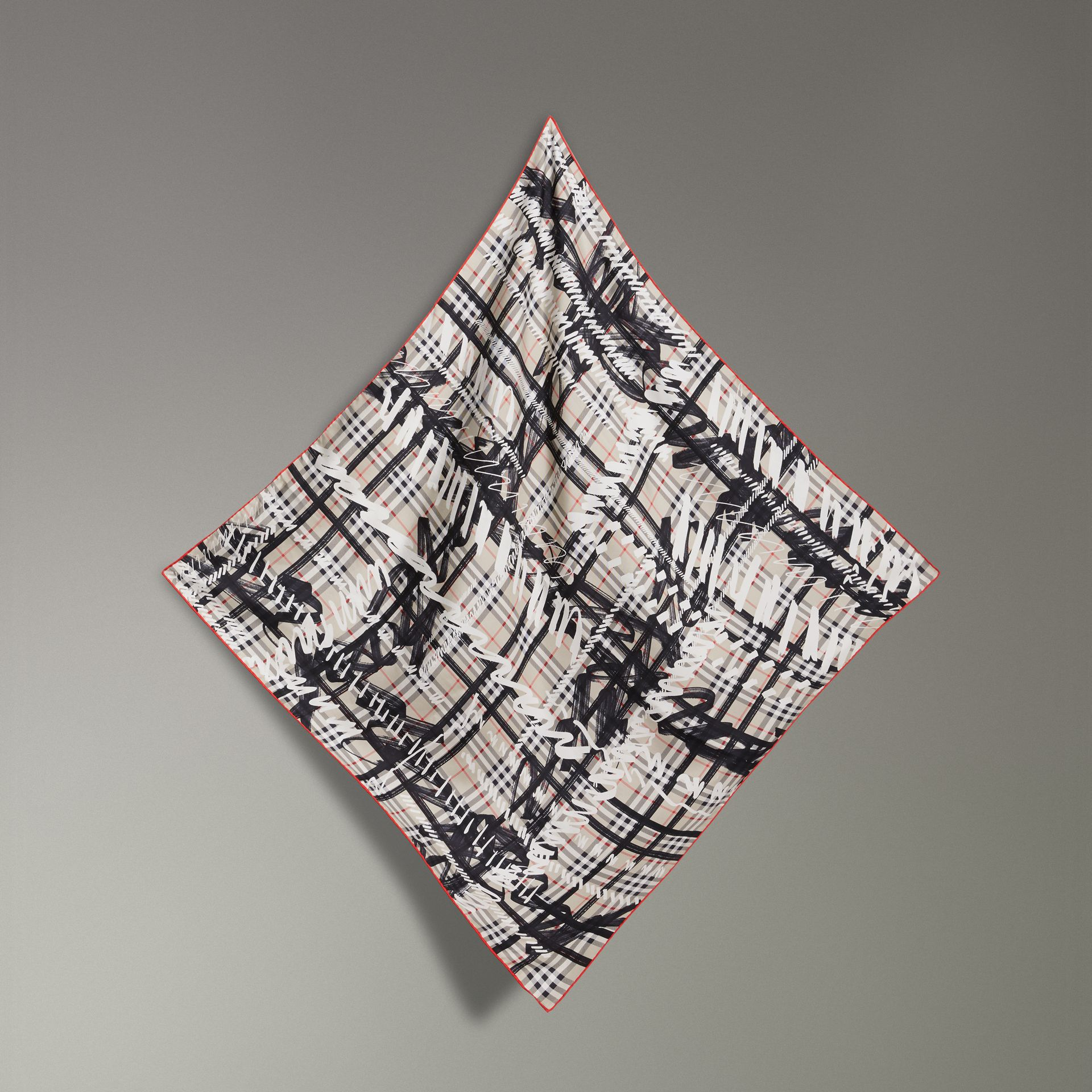 Scribble Check Silk Square Scarf in Stone | Burberry - gallery image 0