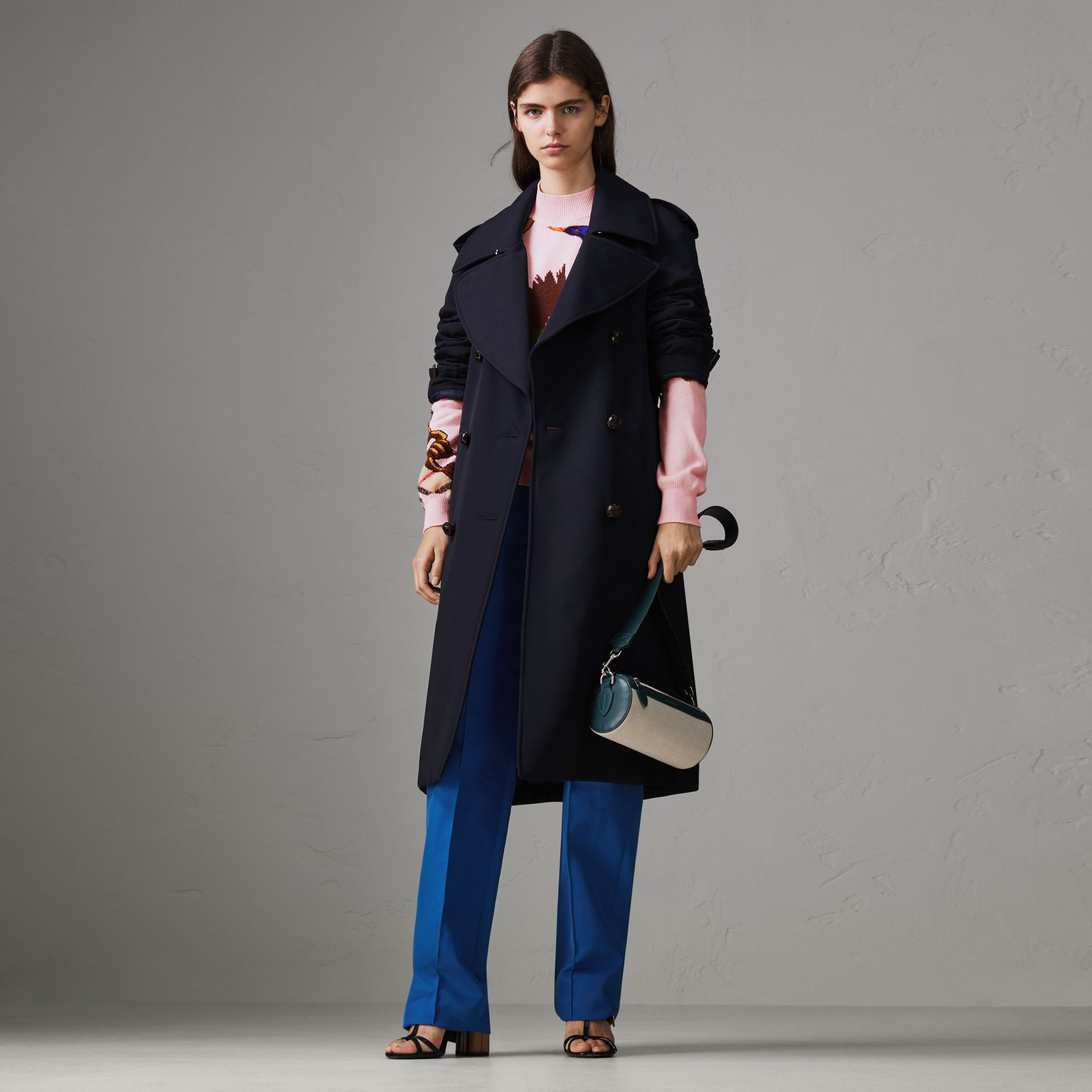 Oversized Lapel Wool Gabardine Trench Coat in Navy - Women | Burberry United Kingdom - gallery image 0