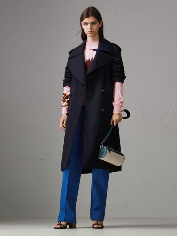Oversized Lapel Wool Gabardine Trench Coat in Navy