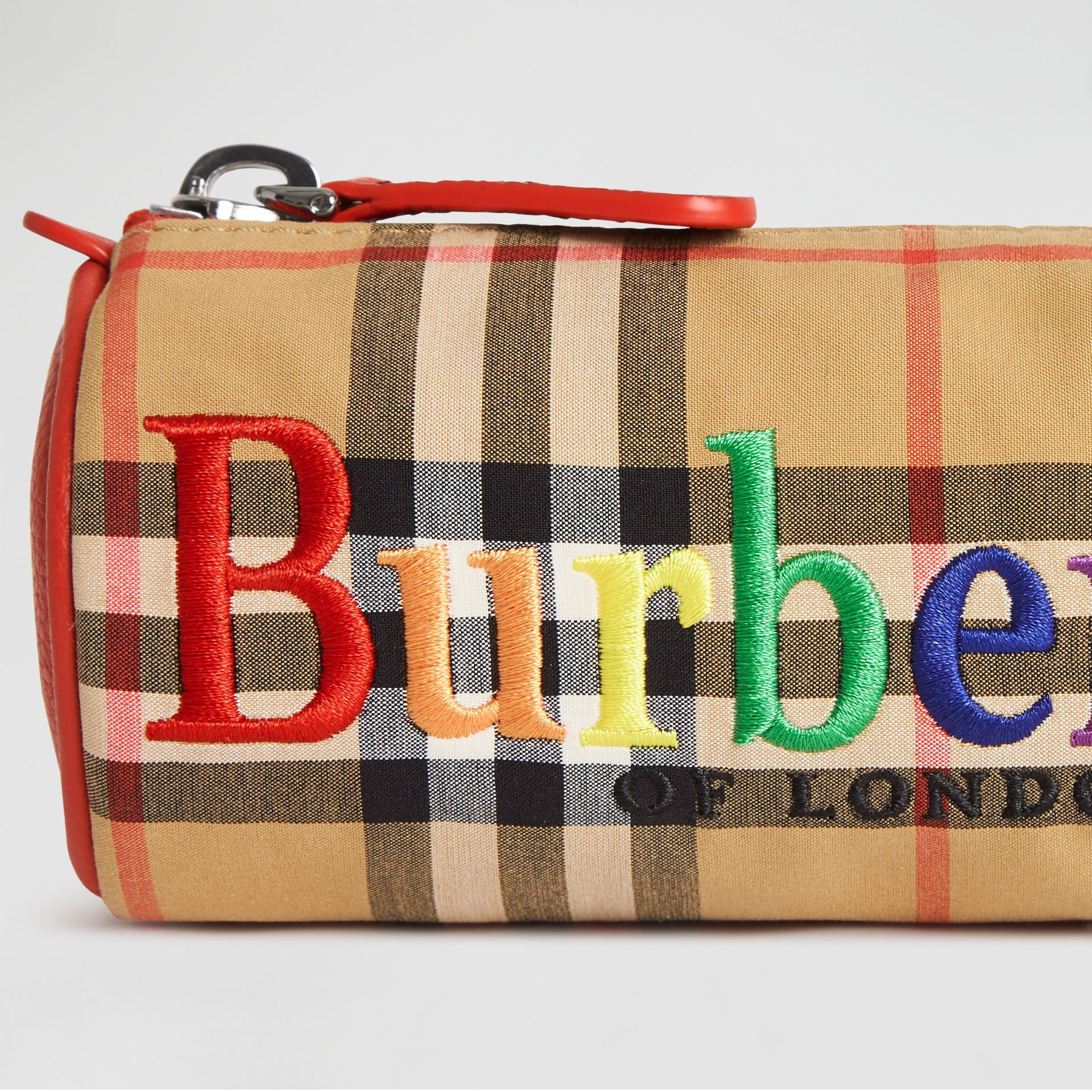 Embroidered Archive Logo Vintage Check Pencil Case in Antique Yellow | Burberry - gallery image 1